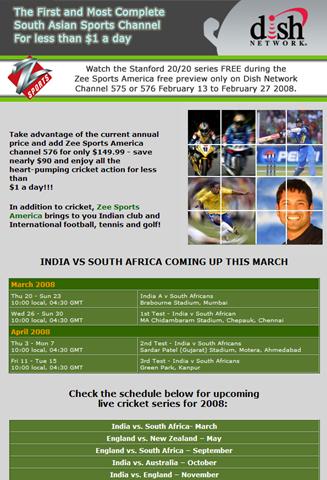 Zee Sports CricketSchedule